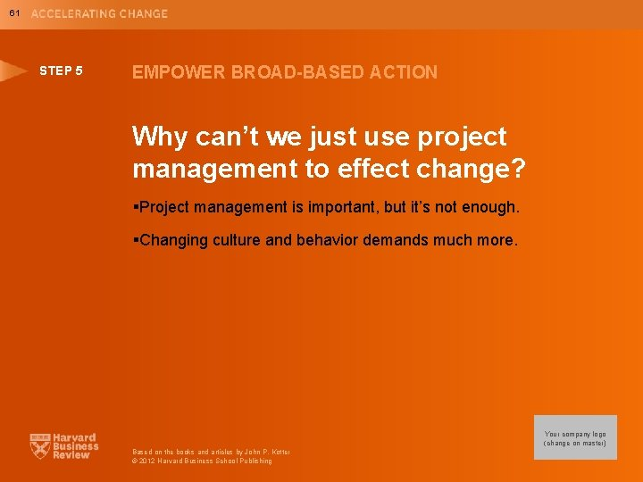 61 STEP 5 EMPOWER BROAD-BASED ACTION Why can't we just use project management to