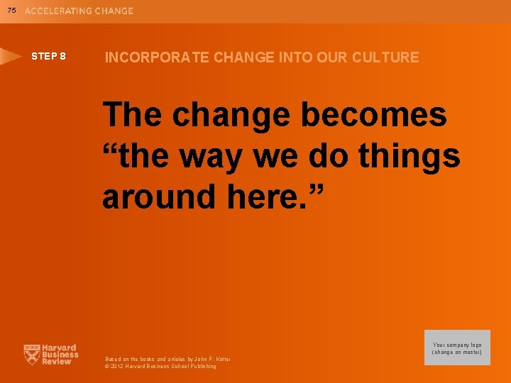 """75 STEP 8 INCORPORATE CHANGE INTO OUR CULTURE The change becomes """"the way we"""