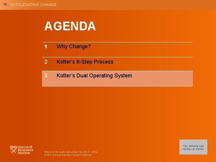 76 AGENDA 1 Why Change? 2 Kotter's 8 -Step Process 3 Kotter's Dual Operating