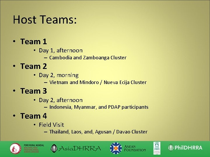 Host Teams: • Team 1 • Day 1, afternoon – Cambodia and Zamboanga Cluster