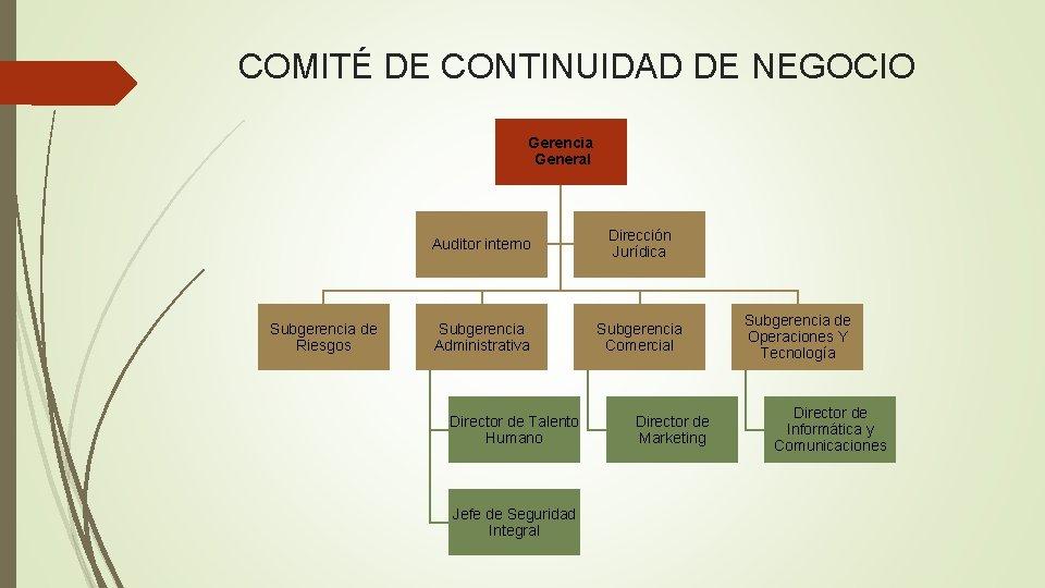 COMITÉ DE CONTINUIDAD DE NEGOCIO Gerencia General Subgerencia de Riesgos Auditor interno Dirección Jurídica