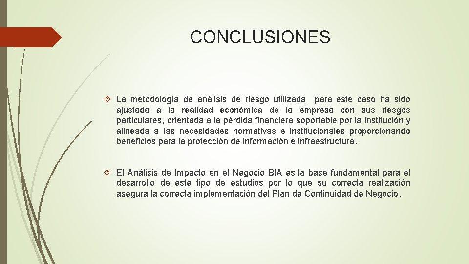 CONCLUSIONES La metodología de análisis de riesgo utilizada para este caso ha sido ajustada