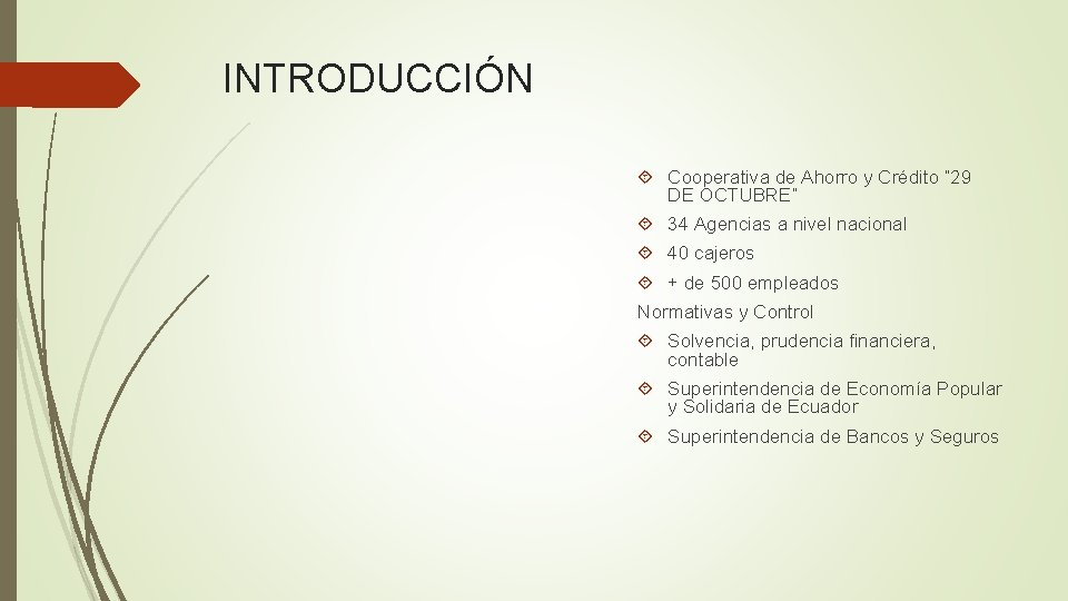 """INTRODUCCIÓN Cooperativa de Ahorro y Crédito """" 29 DE OCTUBRE"""" 34 Agencias a nivel"""