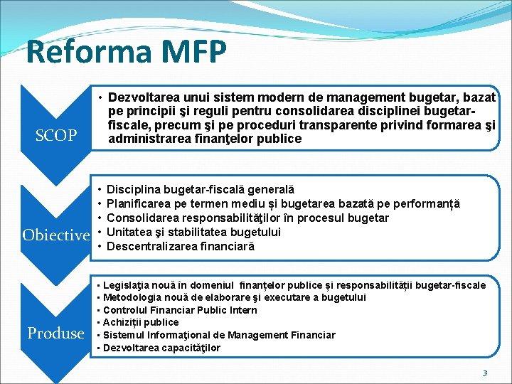 Reforma MFP SCOP Obiective Produse • Dezvoltarea unui sistem modern de management bugetar, bazat