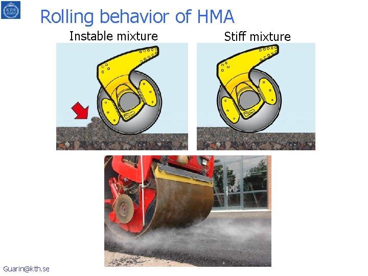 Rolling behavior of HMA Instable mixture Guarin@kth. se Stiff mixture