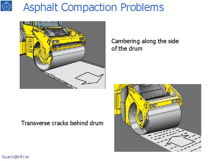 Asphalt Compaction Problems Cambering along the side of the drum Transverse cracks behind drum