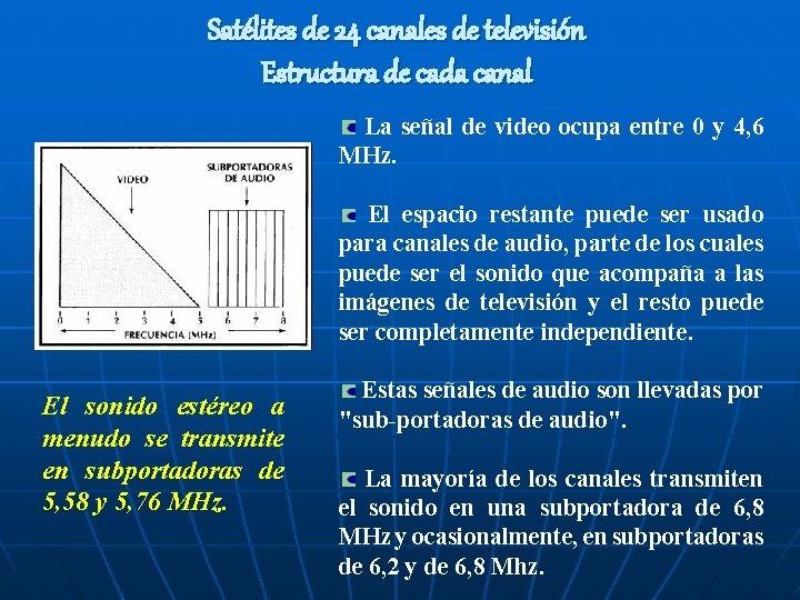 Satélites de 24 canales de televisión Estructura de cada canal La señal de video