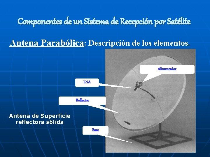 Componentes de un Sistema de Recepción por Satélite Antena Parabólica: Descripción de los elementos.