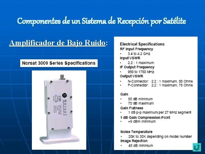 Componentes de un Sistema de Recepción por Satélite Amplificador de Bajo Ruido: