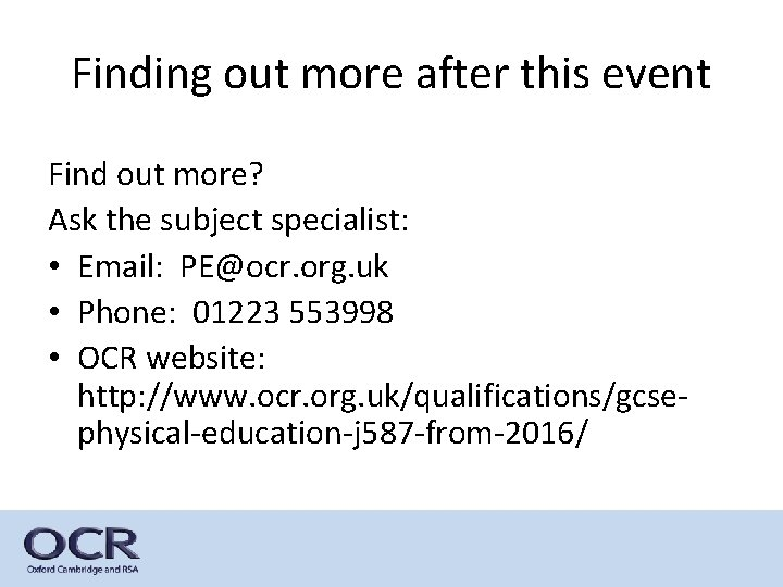 Finding out more after this event Find out more? Ask the subject specialist: •