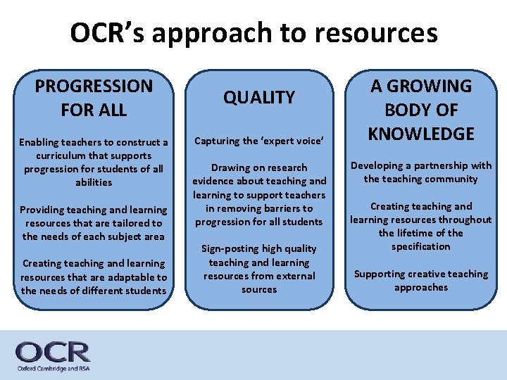 OCR's approach to resources PROGRESSION FOR ALL Enabling teachers to construct a curriculum that