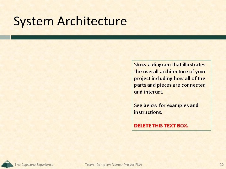 System Architecture Show a diagram that illustrates the overall architecture of your project including