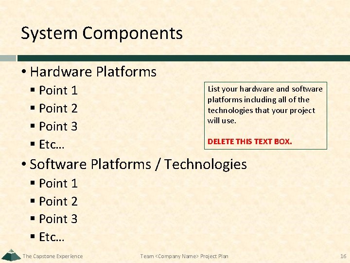 System Components • Hardware Platforms § Point 1 § Point 2 § Point 3