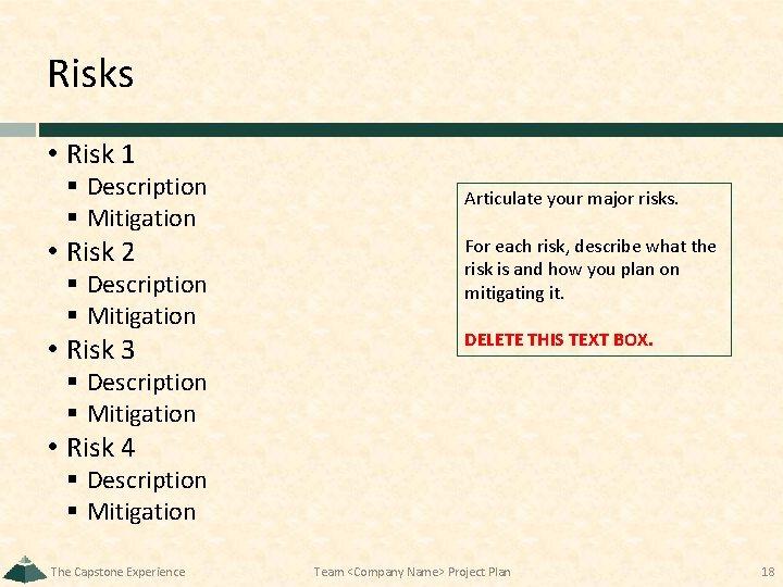 Risks • Risk 1 § Description § Mitigation Articulate your major risks. • Risk
