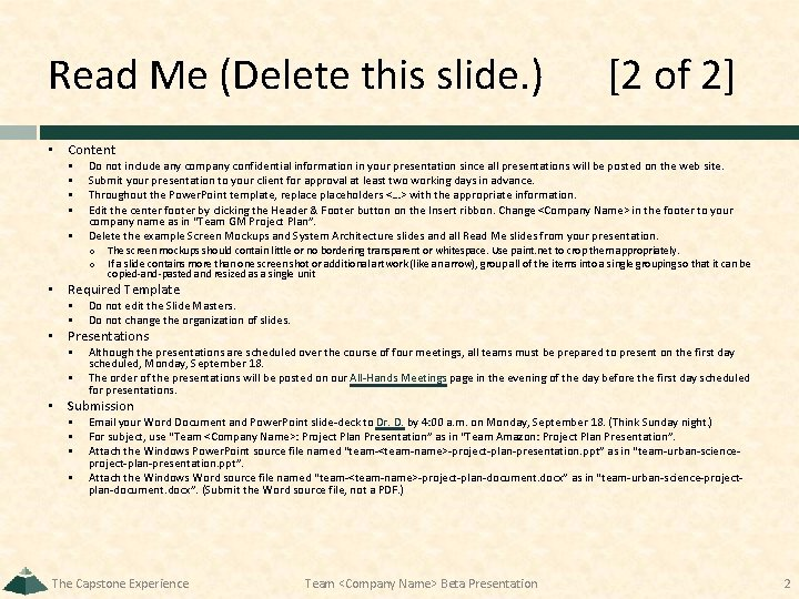 Read Me (Delete this slide. ) [2 of 2] • Content § § §