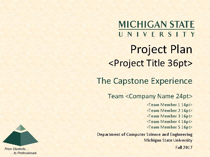Project Plan <Project Title 36 pt> The Capstone Experience Team <Company Name 24 pt>