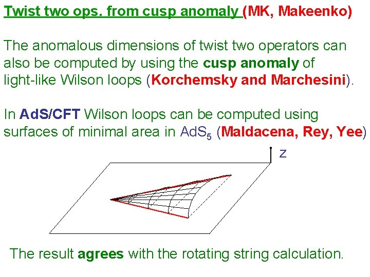 Twist two ops. from cusp anomaly (MK, Makeenko) The anomalous dimensions of twist two
