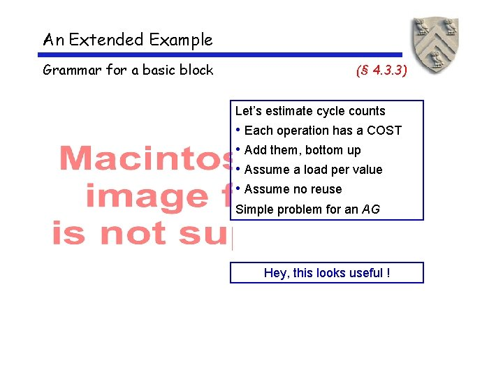 An Extended Example Grammar for a basic block (§ 4. 3. 3) Let's estimate