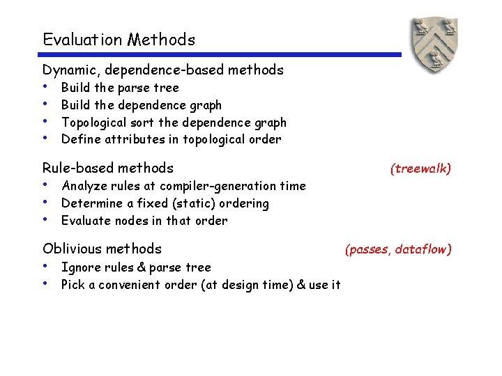 Evaluation Methods Dynamic, dependence-based methods • • Build the parse tree Build the dependence