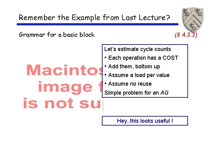 Remember the Example from Last Lecture? Grammar for a basic block (§ 4. 3.