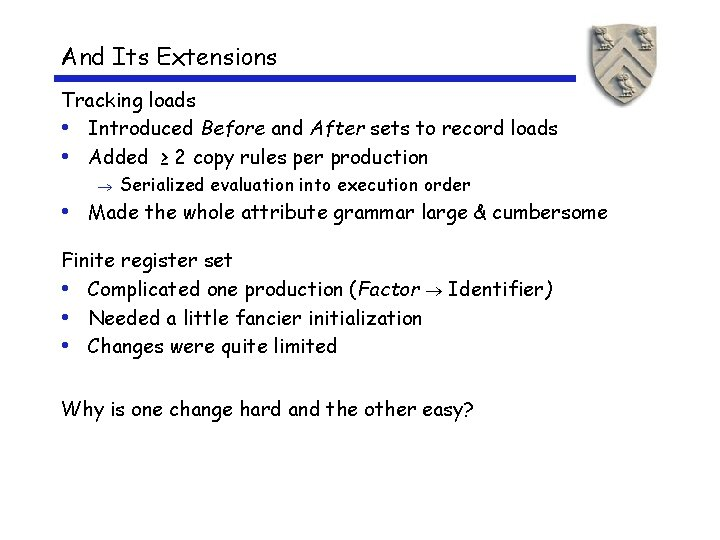 And Its Extensions Tracking loads • Introduced Before and After sets to record loads
