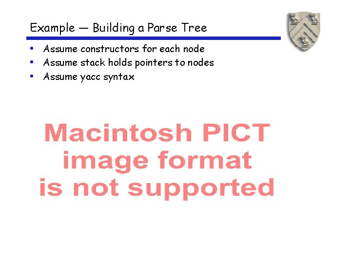 Example — Building a Parse Tree • Assume constructors for each node • Assume