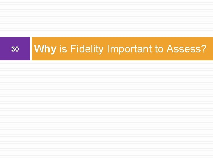30 Why is Fidelity Important to Assess?