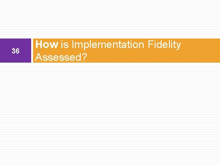 36 How is Implementation Fidelity Assessed?