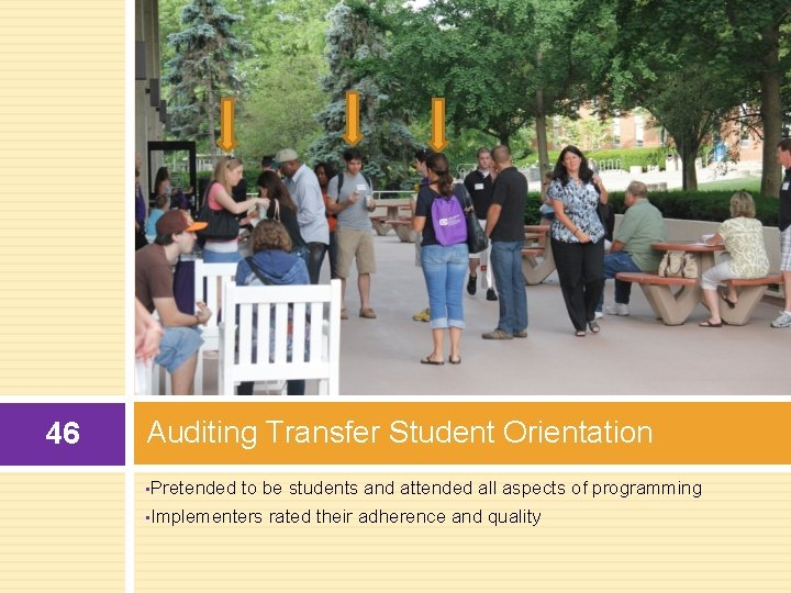 46 Auditing Transfer Student Orientation • Pretended to be students and attended all aspects