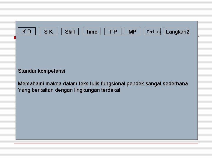 KD SK Skill Time TP MP Technik Langkah 2 Standar kompetensi Memahami makna dalam