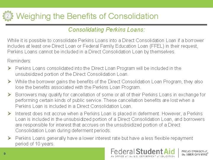 consolidating my perkins loan will