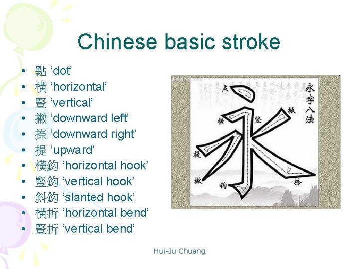 Chinese basic stroke • • • 點 'dot' 橫 'horizontal' 豎 'vertical' 撇 'downward