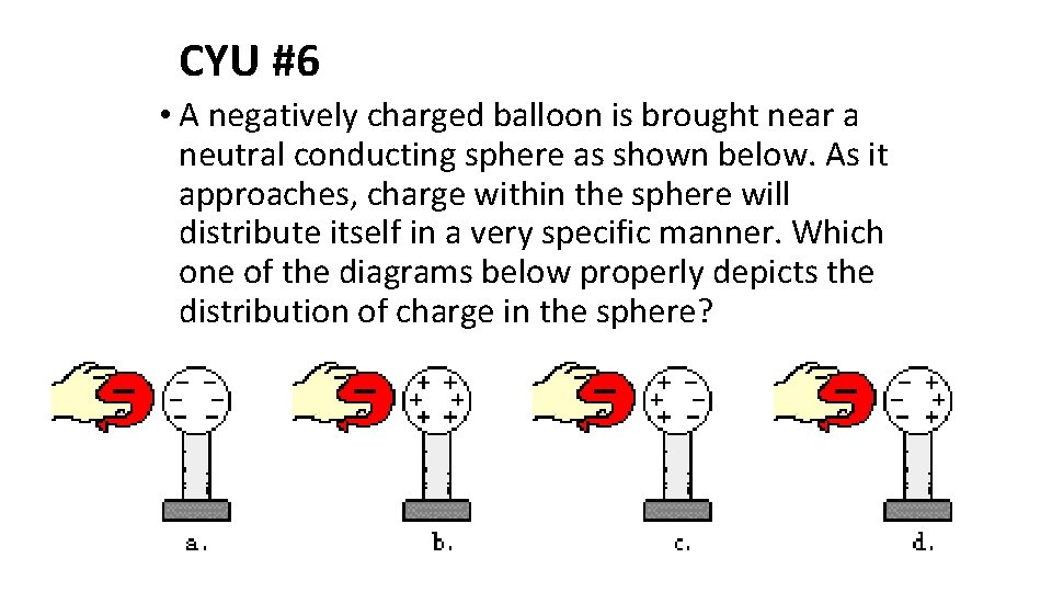 CYU #6 • A negatively charged balloon is brought near a neutral conducting sphere