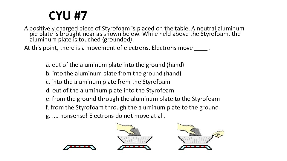 CYU #7 A positively charged piece of Styrofoam is placed on the table. A