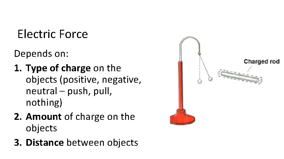 Electric Force Depends on: 1. Type of charge on the objects (positive, negative, neutral