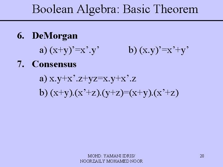 Boolean Algebra: Basic Theorem 6. De. Morgan a) (x+y)'=x'. y' b) (x. y)'=x'+y' 7.