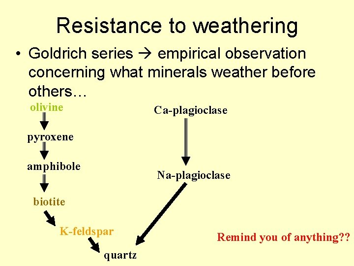 Resistance to weathering • Goldrich series empirical observation concerning what minerals weather before others…