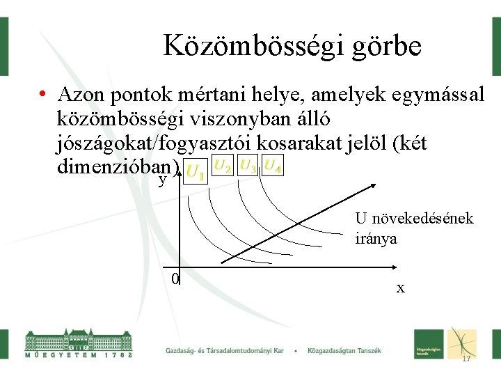 Közömbösségi görbe • Azon pontok mértani helye, amelyek egymással közömbösségi viszonyban álló jószágokat/fogyasztói kosarakat
