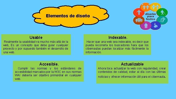 Elementos de diseño Usable Indexable. Realmente la usabilidad va mucho más allá de la