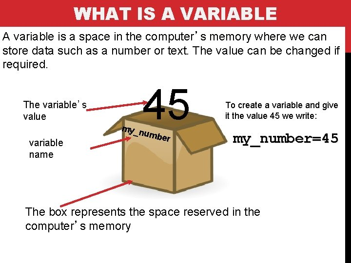 WHAT IS A VARIABLE A variable is a space in the computer's memory where