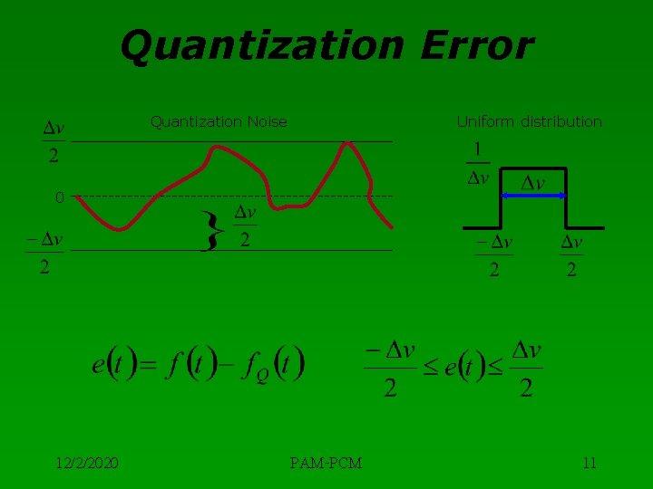Quantization Error Quantization Noise Uniform distribution 0 12/2/2020 PAM-PCM 11