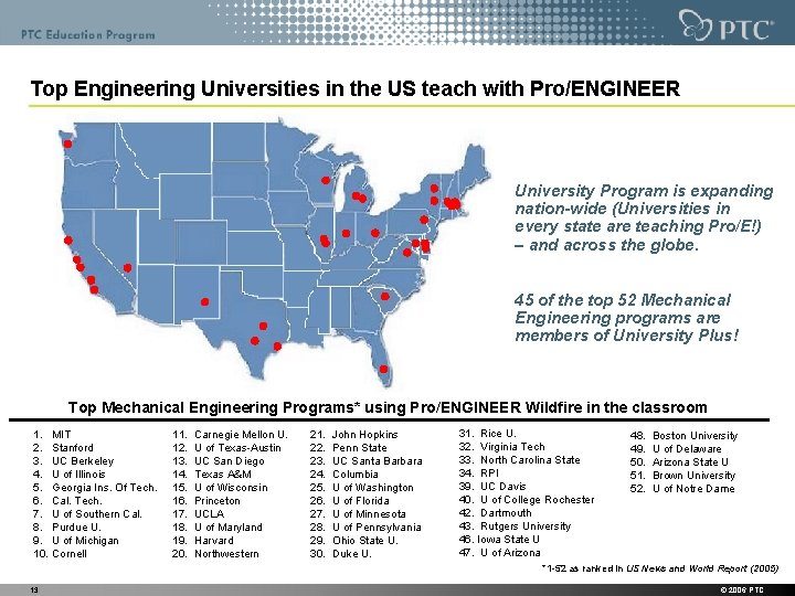 Top Engineering Universities in the US teach with Pro/ENGINEER University Program is expanding nation-wide