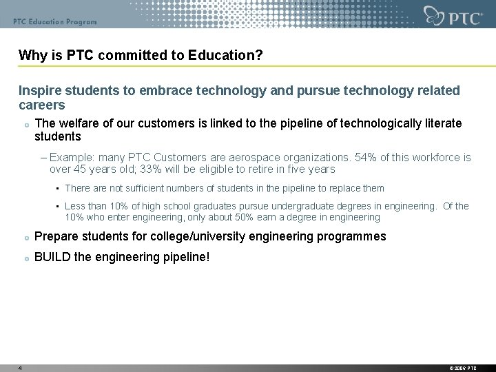 Why is PTC committed to Education? Inspire students to embrace technology and pursue technology