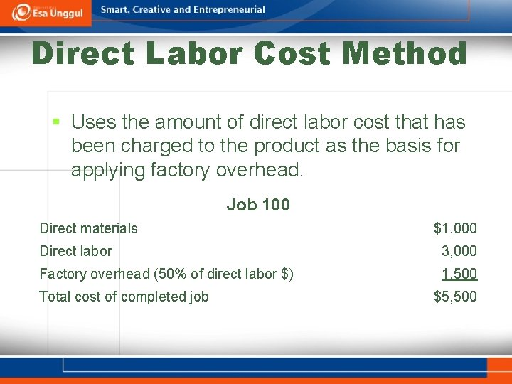 Direct Labor Cost Method § Uses the amount of direct labor cost that has