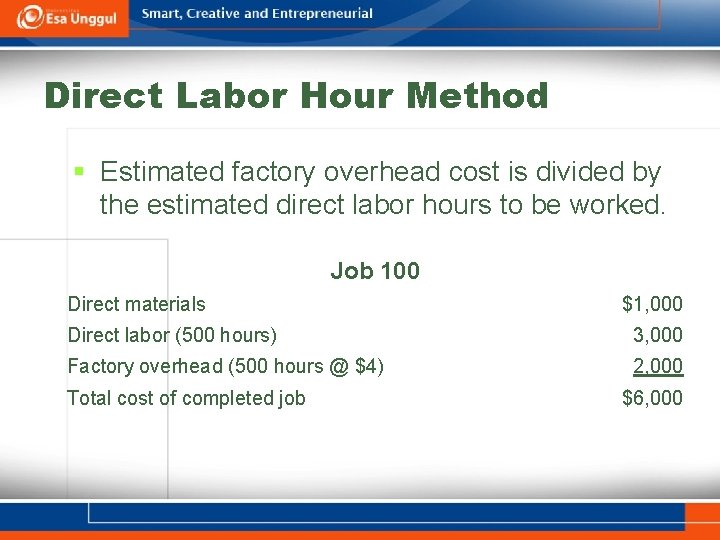 Direct Labor Hour Method § Estimated factory overhead cost is divided by the estimated
