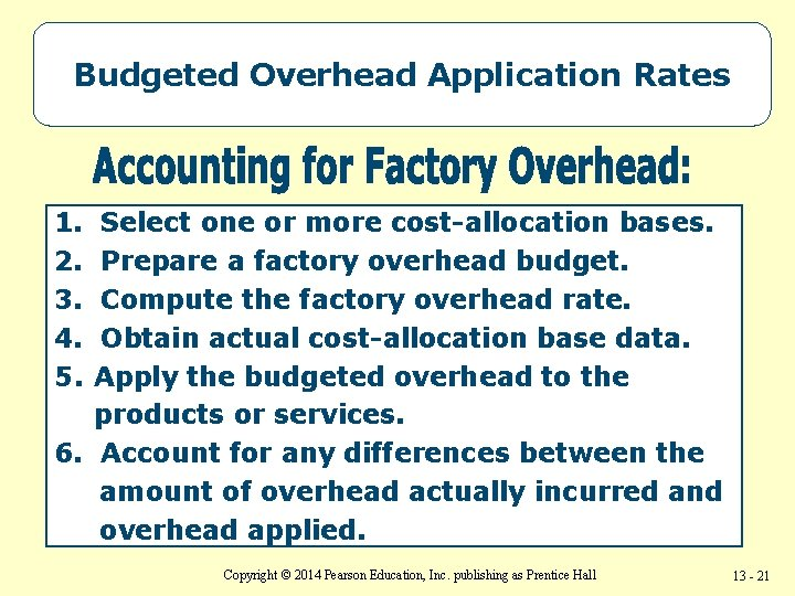 Budgeted Overhead Application Rates 1. 2. 3. 4. 5. Select one or more cost-allocation