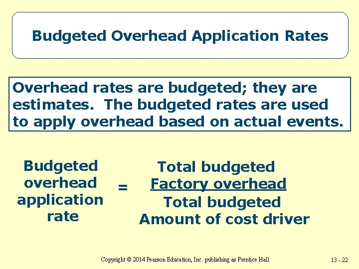 Budgeted Overhead Application Rates Overhead rates are budgeted; they are estimates. The budgeted rates