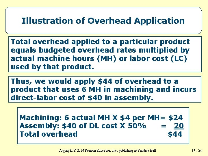 Illustration of Overhead Application Total overhead applied to a particular product equals budgeted overhead