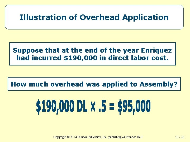 Illustration of Overhead Application Suppose that at the end of the year Enriquez had
