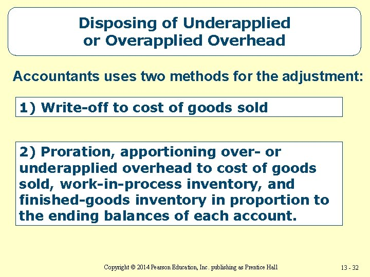 Disposing of Underapplied or Overapplied Overhead Accountants uses two methods for the adjustment: 1)
